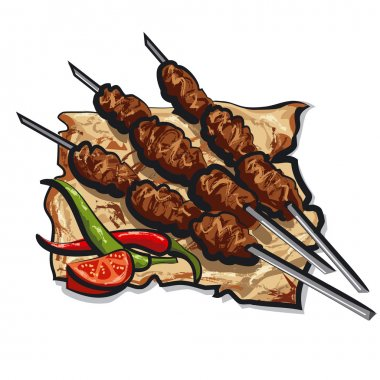 Grilled kebab with pita bread stock vector