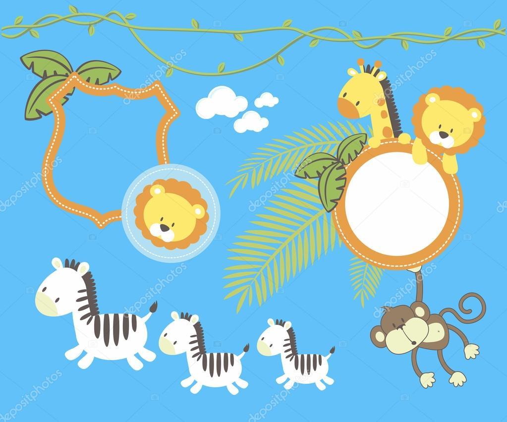 Ensemble De Décoration Jungle Enfants Image Vectorielle Hayaship