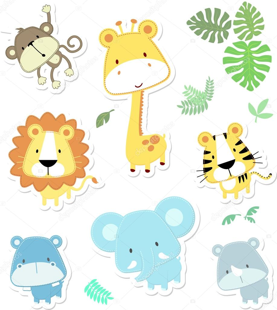 cartoon illustration of seven baby animals and jungle leaves