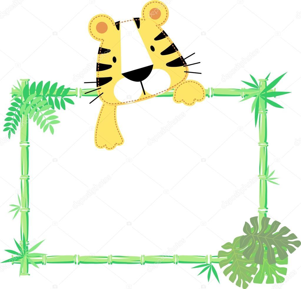 vector de marco lindo bebé tigre — Archivo Imágenes Vectoriales ...