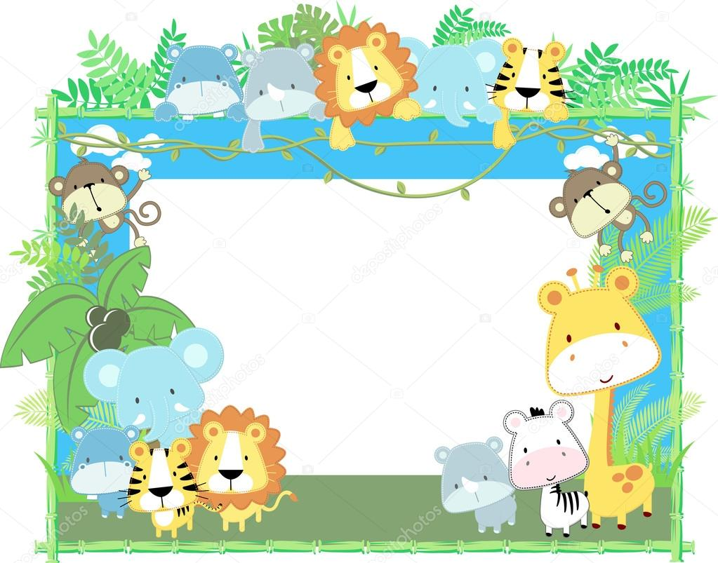 Cute vector baby animals frame jungle theme
