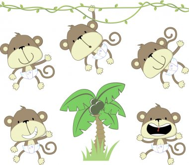 Baby monkeys cartoon