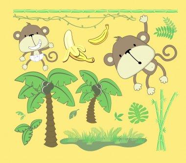 Jungle cartoon vector design elements