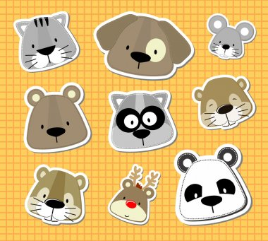 animal baby vector stickers