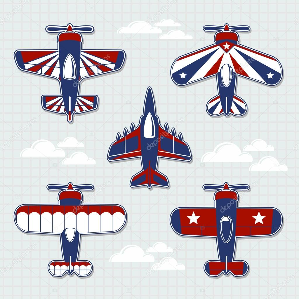 Airplanes cartoon vector collection