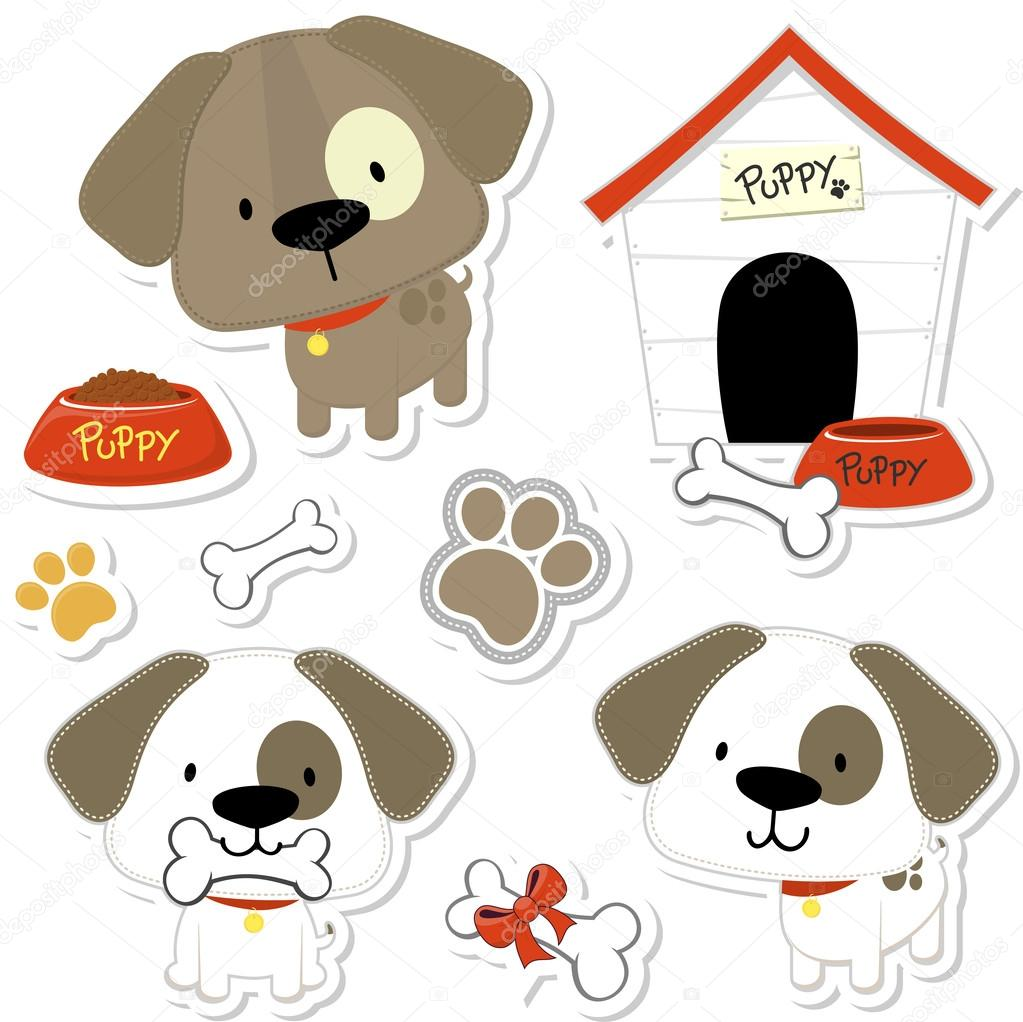 Cute doggy vector collection