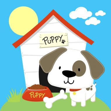Puppy dog house cartoon