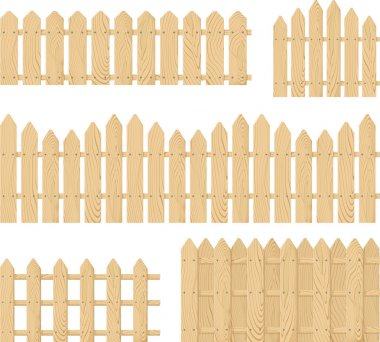 Wooden fence vector set isolated