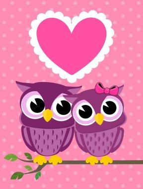 Cute love owls greeting card