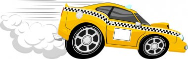 Funny fast taxi car cartoon