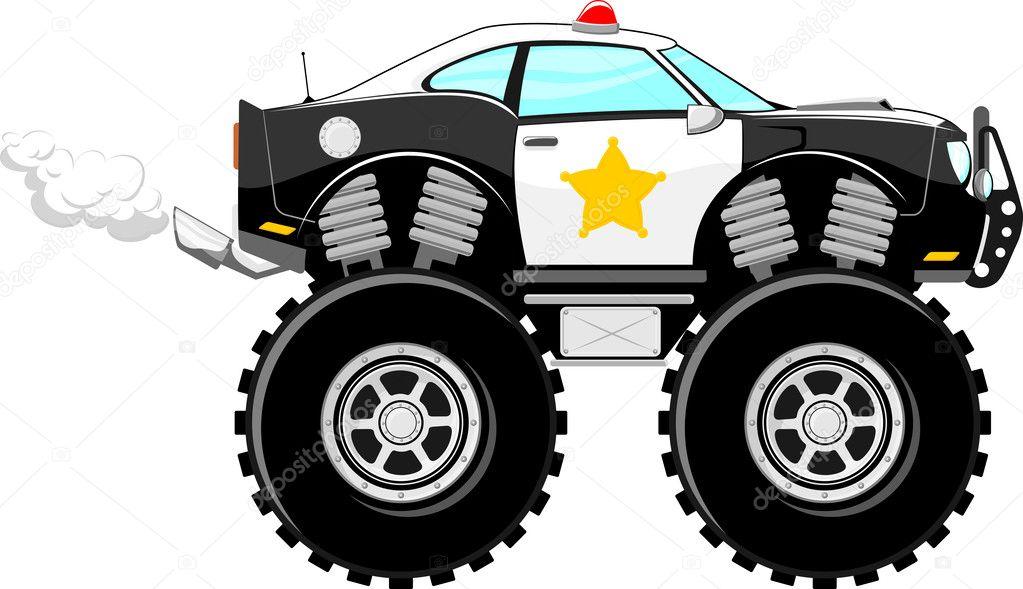 desenho de carro 4x4 polícia monstertruck vetor de stock