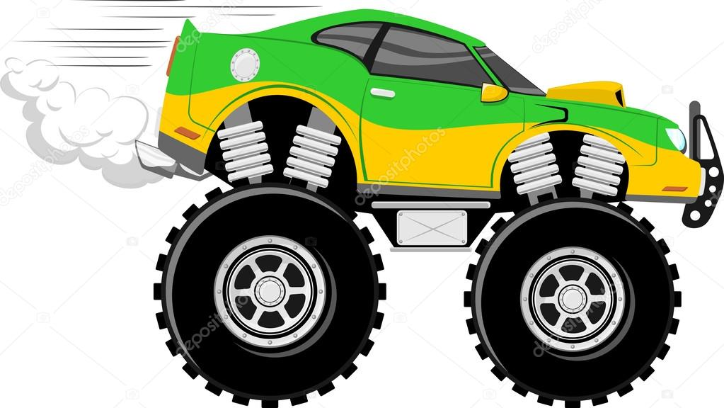 Monstertruck Race Car 4x4 Cartoon Stock Vector C Hayaship 26955483