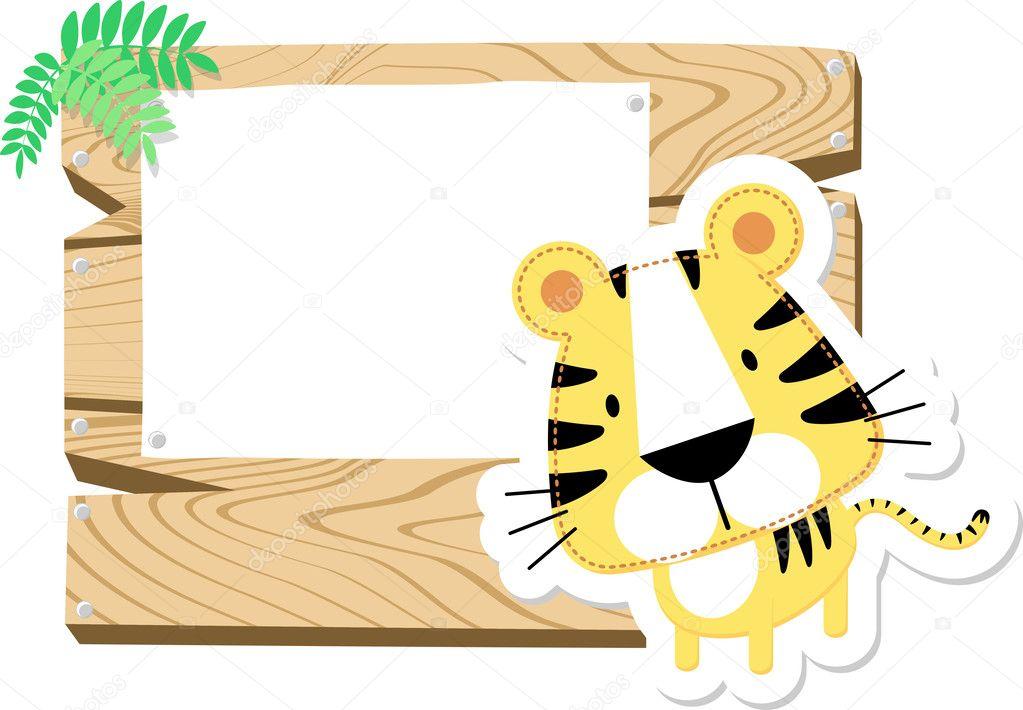 Baby Tiger Scrapbook Background Stock Vector Hayaship 27642377