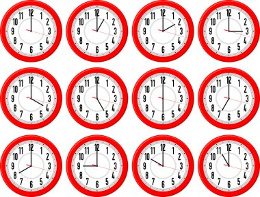Red clocks isolated