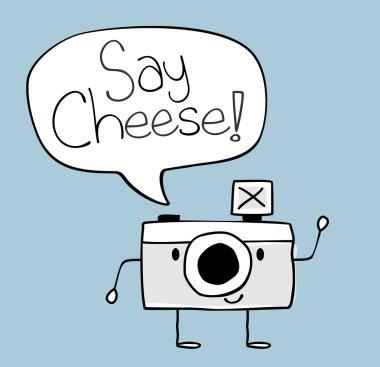 Camera cartoon say cheese text ballon