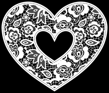 Lace wedding heart applique
