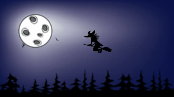Halloween čarodějnice létající v noci na pozadí měsíc