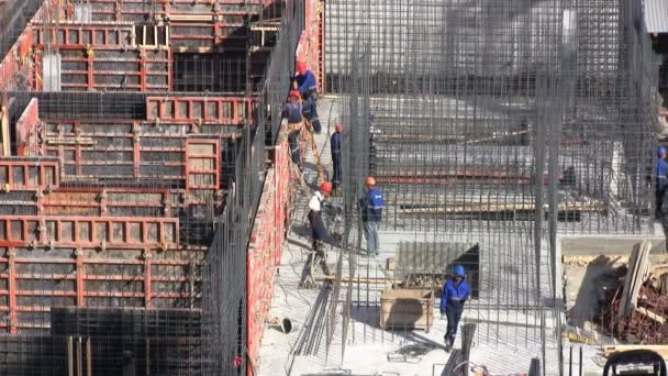 Construction site with workers.