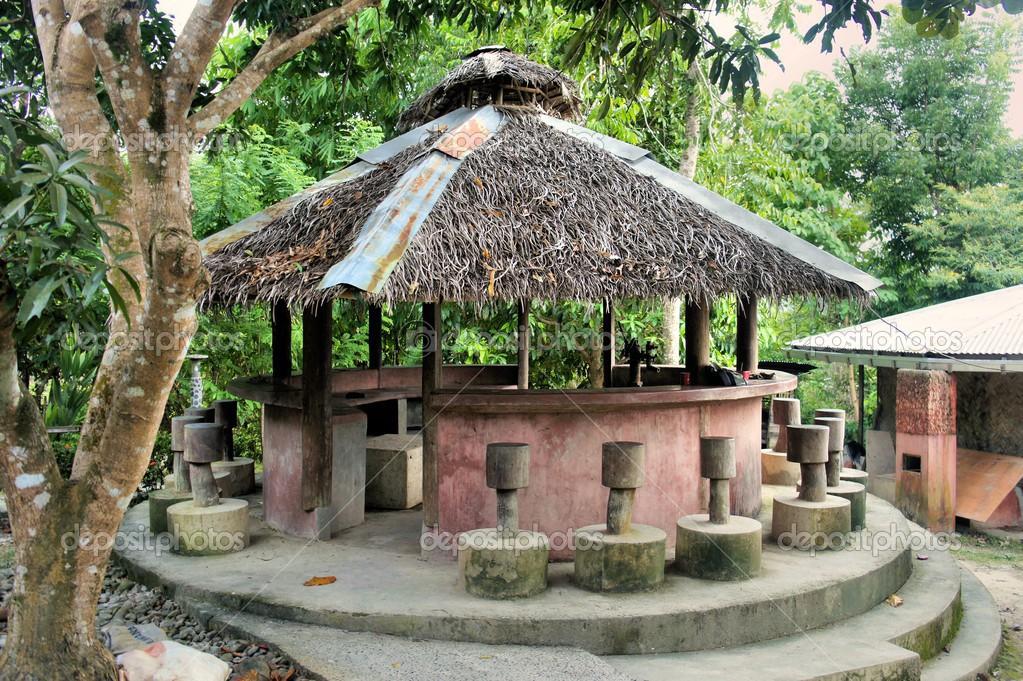 Pavillon mit Reetdach — Stockfoto © philserhio #41997577