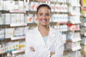 Fotografie Portrait of Smiling Woman Pharmacist in Pharmacy