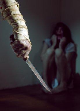Woman terrified screams