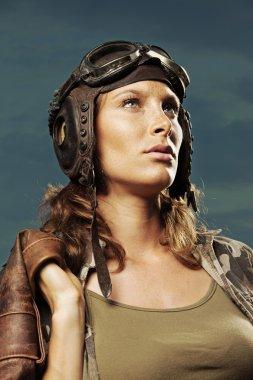 Vintage pilot: fashion model portrait