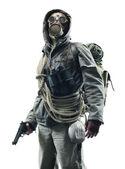 Photo Post apocalyptic survivor in gas mask