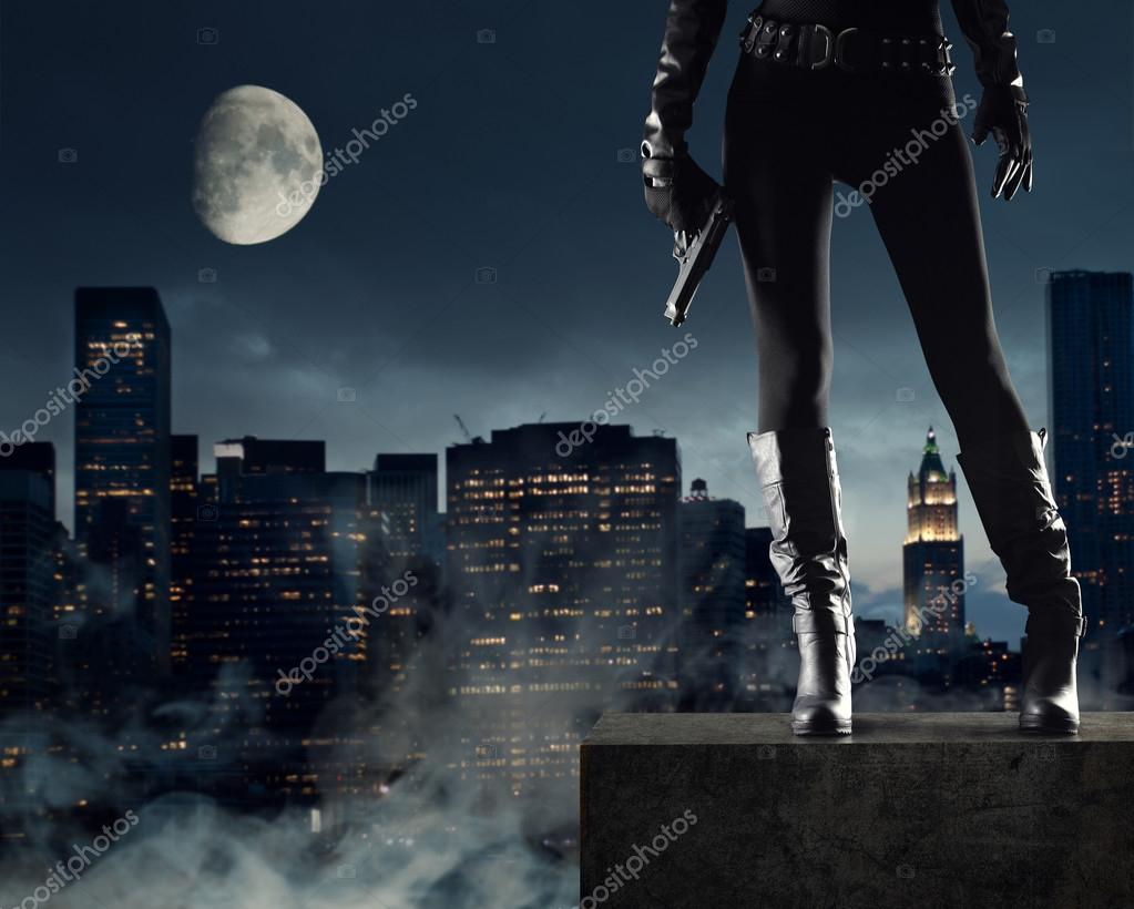 Sexy Female thief with gun, new york on background stock vector