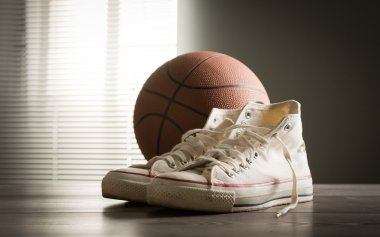 Shoes and basketball