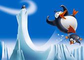 Fotografia pinguini divertenti su scivolo di ghiaccio