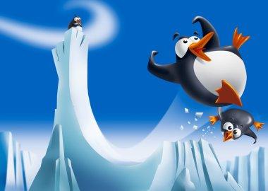 Funny penguins on ice slide