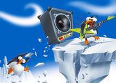 Fotografia pinguino forte rockstar