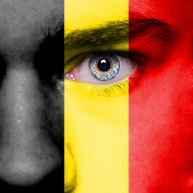 Belgium flag painted on face