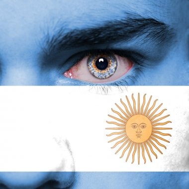 Argentina flag painted on face