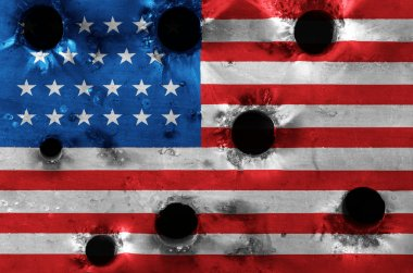 Grunge USA flag in holes