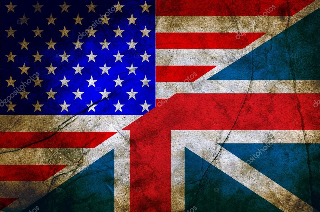 usa and england flag together on grunge background stock photo