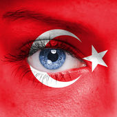 Fotografie Turkey flag on woman face