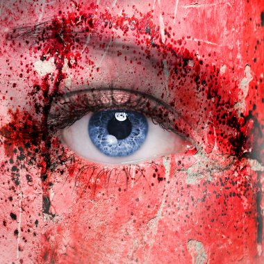Vampire face, eye close up. face with red blood on it stock vector