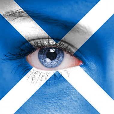 Human face painted with flag of Scotland