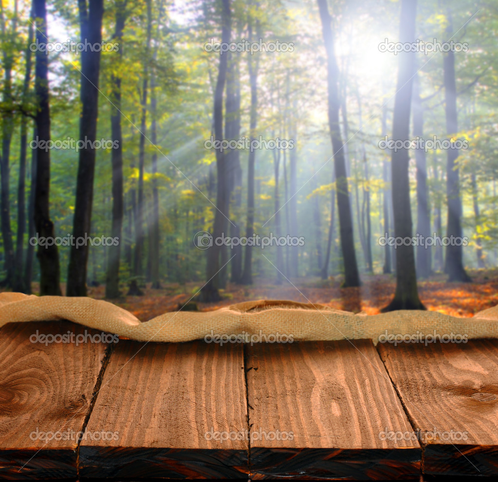 Фотообои Old wooden table in autumn forest