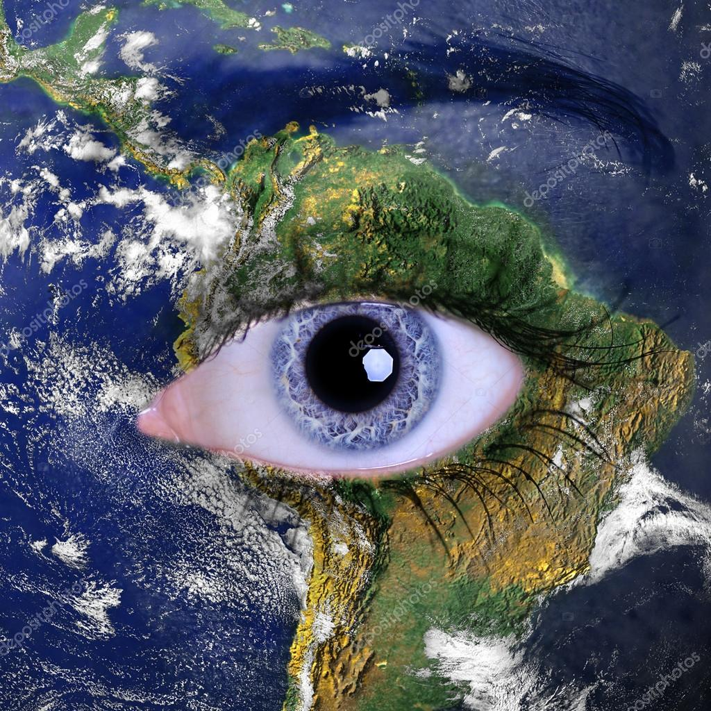 Planet earth and blue woman eye