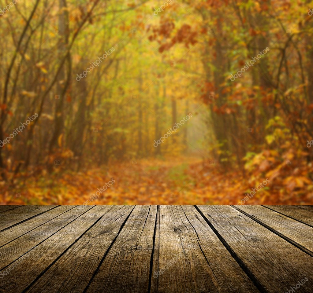 Background image table - Table With Autumn Background Stock Photo 32506983