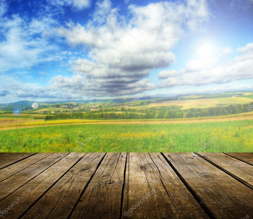 Empty wooden deck table with summer landscape