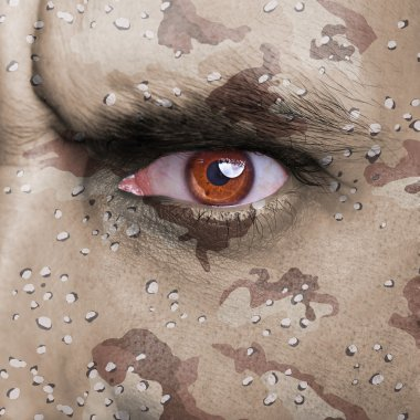 Desert army camouflage on angry soldier face stock vector