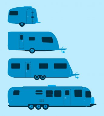 Several mobile homes illustration in blue colors stock vector