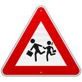 Fotografie Fußgänger-Gefahrenschild