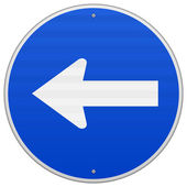 Blue Sign with Arrow Left