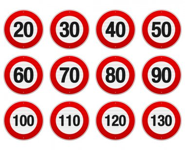 Isolated illustration of circle speed limit signs with red border stock vector