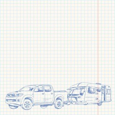 Caravan and Car sketch