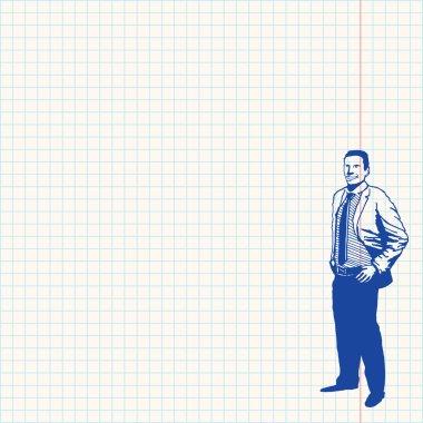 Businessman on grid paper